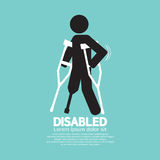 Disabled Person With Crutch Black Symbol. Royalty Free Stock Photo