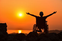 Disabled person & happy and peaceful disability. Disability is the consequence of an impairment that may be physical, cognitive, mental, sensory, emotional royalty free stock photography