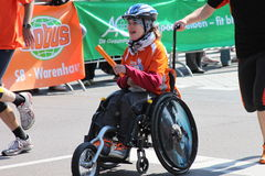 A disabled person having fun at Halle Marathon Stock Photography