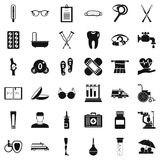 Disabled person icons set, simple style Royalty Free Stock Image