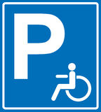 Disabled person parking sign, Vector banner on blue background Stock Images