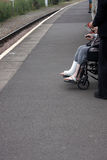 A disabled person on a platform Royalty Free Stock Photography