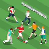 Disabled Person Playing Soccer Isometric Illustration. Disabled person with prosthetic limbs playing soccer with healthy people on green textured background Royalty Free Stock Photos