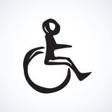 Disabled person in the stroller. Vector drawing Royalty Free Stock Photos