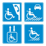 Disabled person warning sign, handicap sign type Illustration Stock Photo