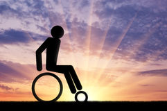 Disabled person in a wheelchair icon man Stock Images