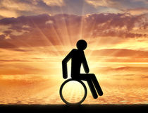 Disabled person in a wheelchair icon man Royalty Free Stock Image