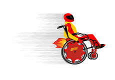 Disabled person in wheelchair wit turbo engine. Speed riding to Royalty Free Stock Image