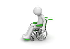 Disabled person on a wheeled chair Stock Images