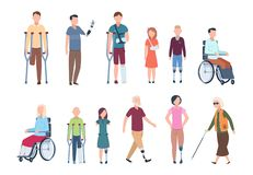 Disabled persons. Diverse injured people in wheelchair, elderly, adult and children patients. Handicapped characters set stock illustration