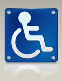 Disabled Placard. Stylish 3D illustration of disabled symbol on a restroom sign. Easy-edit file Stock Photography