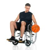 Disabled player on wheelchair Royalty Free Stock Image