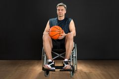 Disabled player on wheelchair Royalty Free Stock Images