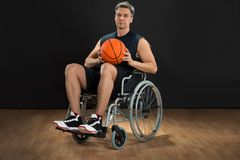 Disabled player on wheelchair Stock Photos