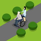 Disabled Retired People Life Isometric Banner Stock Photography