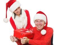 Disabled Santa Claus and Santa Girl Stock Photo