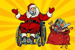 Disabled Santa Claus is in a wheelchair, Christmas gifts Stock Image