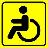 disabled Segnale di pericolo Uomo in sedia a rotelle Il nero su giallo Vettore illustrazione vettoriale
