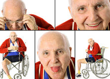 Disabled senior collage Stock Photography
