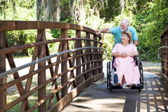 Disabled Senior Couple in Park Royalty Free Stock Images