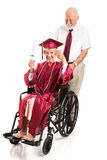 Disabled Senior Lady Graduates with Honors Royalty Free Stock Images