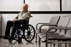 Disabled Senior Man Looking Away Royalty Free Stock Photography