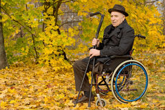 Disabled senior man in a wheelchair. Sitting in his overcoat and hat in a colourful autumn woodland holding his crutches in his hand, with copyspace Stock Photo