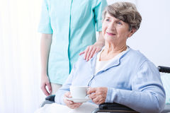 Disabled senior with positive attitude. Image of disabled senior woman with positive attitude Royalty Free Stock Photo