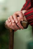 Disabled senior walking stick with a smile Stock Photography