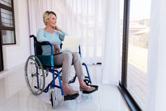 Disabled senior woman relaxing Royalty Free Stock Photo