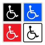 Disabled SET signs. Disabled sign. Handicapped person icons isolated in square. Set illustrations of prohibiting warning sign and permissive sign for the Stock Photo