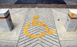 Disabled sign. Closeup disabled sign board on the way stock photography