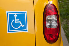 Disabled sign on back of car Royalty Free Stock Photos