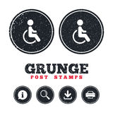 Disabled sign icon. Human on wheelchair symbol. Royalty Free Stock Image