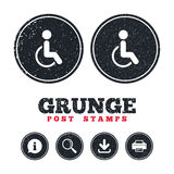 Disabled sign icon. Human on wheelchair symbol. Stock Image