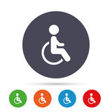 Disabled sign icon. Human on wheelchair symbol. Stock Photography