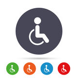 Disabled sign icon. Human on wheelchair symbol. Royalty Free Stock Photos