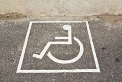 Disabled sign on street Royalty Free Stock Image