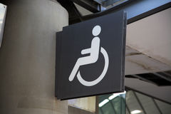 Disabled signage. On a pillar Royalty Free Stock Photos