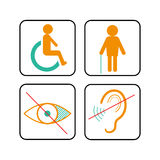 Disabled signs: deaf, blind, and wheelchair Royalty Free Stock Photos