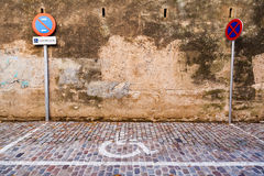 Disabled special parking. Disabled symbol for parking on the street Royalty Free Stock Images