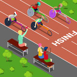 Disabled Sports. Handicapped People Racing in a Competition. Isometric vector Royalty Free Stock Images