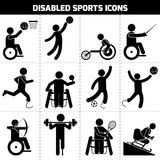 Disabled Sports Icons. Disabled sports black pictogram invalid people icons set isolated vector illustration Royalty Free Stock Photography