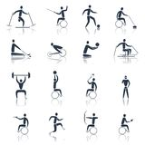 Disabled Sports Icons Black Stock Photo