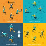 Disabled Sports Set. Disabled sports design concept set with winter and summer competition paralympic games flat icons isolated vector illustration Royalty Free Stock Photography