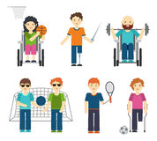 Disabled sports vector illustration. Handicapped people in sport Stock Image