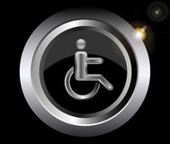 Disabled Stick man in wheelchair metal icon Stock Image