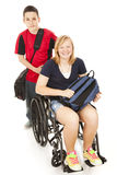 Disabled Student and Brother Stock Photo