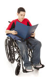 Disabled Student Reading stock photo