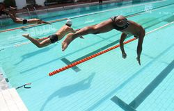 Disabled swimmer Stock Image